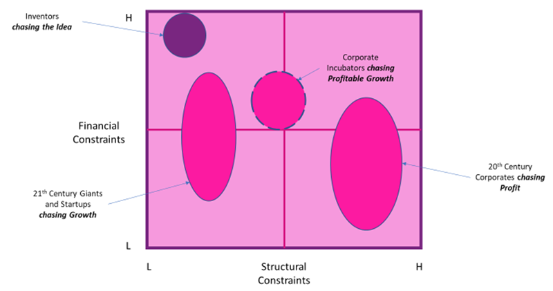 How the pursuit of profit or growth influences constraints and innovation